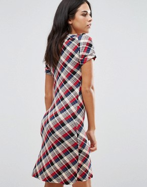photo Check Shift Dress by Jasmine, color Red - Image 2