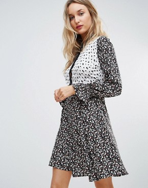 photo Mix and Match Print Shirt Dress by Influence, color  - Image 1