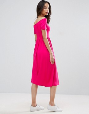 photo Ruched Sweetheart Midi Skater Dress by ASOS TALL, color Pink - Image 2