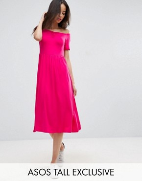 photo Ruched Sweetheart Midi Skater Dress by ASOS TALL, color Pink - Image 1