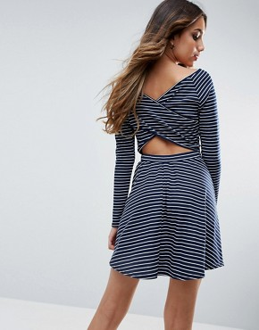 photo Ribbed Striped Skater Dress With Back Detail by Club L, color Navy Stripe - Image 1