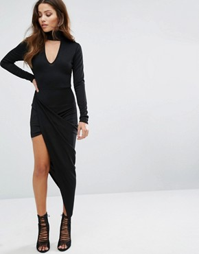 photo Choker Neck Asymmetric Detailed Hem Dress by Club L, color Black - Image 1
