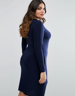 photo Slinky Wrap Dress by Club L Plus, color Navy - Image 2