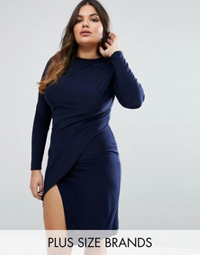 photo Slinky Wrap Dress by Club L Plus, color Navy - Image 1