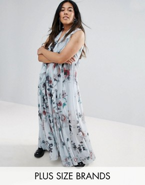 photo Floral Print Ruffle Maxi Dress by Religion Plus, color Grey - Image 1