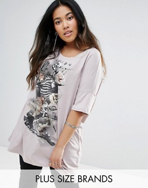 photo Skull Print T Shirt Dress by Religion Plus, color Grey - Image 1