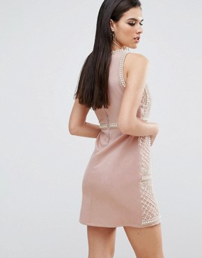 photo Embellished Mini Dress with Floral Embroidery by A Star Is Born, color Nude/Multi - Image 2