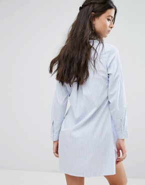 photo Pinstripe Shirt Dress with Embroidery by Glamorous Petite, color  - Image 2
