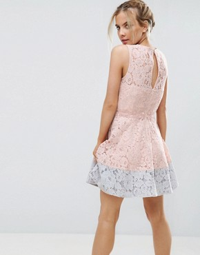 photo Allover Lace Mini Prom Skater Dress with Contrast Hem by Little Mistress Petite, color Nude - Image 2