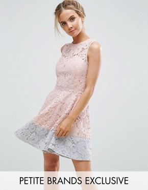 photo Allover Lace Mini Prom Skater Dress With Contrast Hem by Little Mistress Petite, color Nude - Image 1