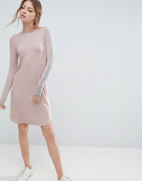 photo Bodycon Midi Dress with Stripe Sleeve Detail by ASOS, color Nude/Grey - Image 1