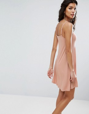 photo 90s Swing Dress in Rib by ASOS, color Nude - Image 2