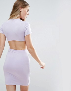 photo Twist Front Mini Bodycon Dress with Cut Out by ASOS, color Lilac - Image 2