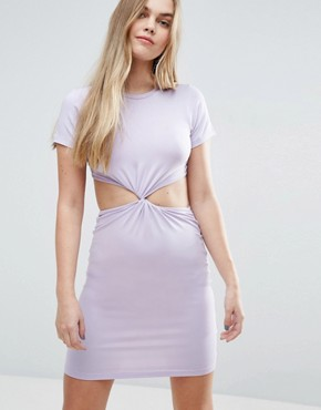 photo Twist Front Mini Bodycon Dress with Cut Out by ASOS, color Lilac - Image 1