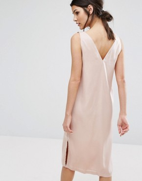 photo V-Neck Slip Dress with Wide Tie Shoulders In Satin by Neon Rose, color Nude - Image 2