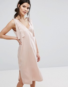 photo V-Neck Slip Dress with Wide Tie Shoulders In Satin by Neon Rose, color Nude - Image 1