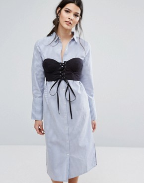 photo Shirt Dress with Corstet Overlay In Stripe by Neon Rose, color Blue - Image 1
