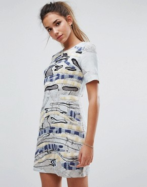photo Derain Stitch Shift Dress by French Connection, color Grey Multi - Image 1
