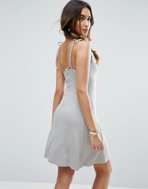 photo Cami Swing Sundress with Tie Straps by ASOS, color Grey - Image 2