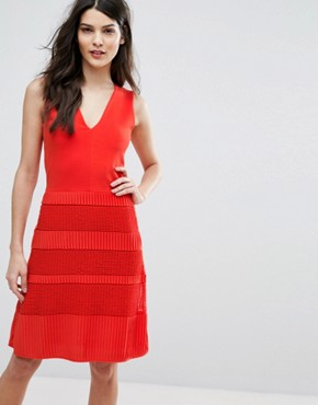photo Pleat Lace Jersey Dress by French Connection, color Sunset Wave - Image 1