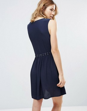photo Lace Up Chambray Dress by First & I, color Navy - Image 2