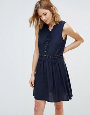 photo Lace Up Chambray Dress by First & I, color Navy - Image 1