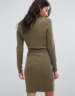 photo Knitted Belted Dress by First & I, color Dark Green - Image 2