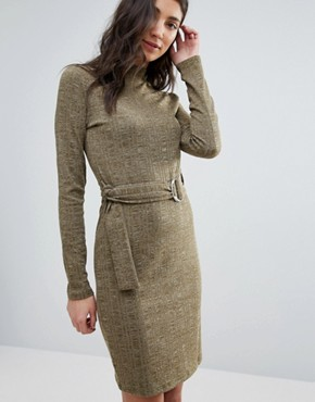 photo Knitted Belted Dress by First & I, color Dark Green - Image 1