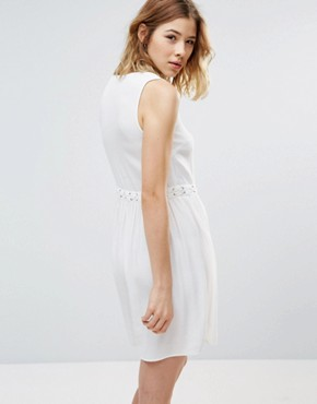 photo Lace Up Chambray Dress by First & I, color White - Image 2