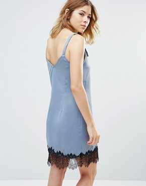 photo Lace Hemmed Dress by First & I, color Flint Stone - Image 2