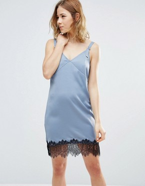 photo Lace Hemmed Dress by First & I, color Flint Stone - Image 1
