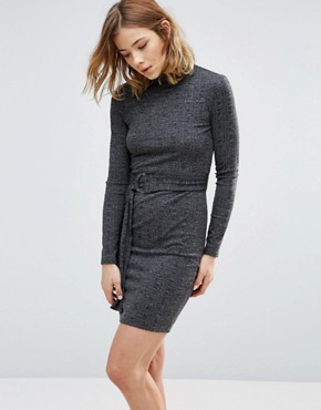 photo Knitted Belted Dress by First & I, color Black - Image 1