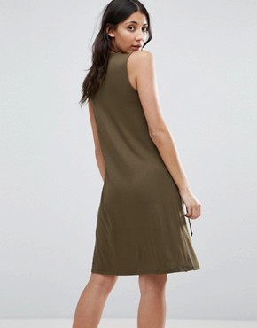 photo Dress with Lace Up Detail by First & I, color Dark Green - Image 2