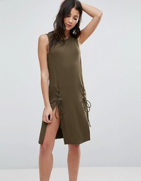 photo Dress with Lace Up Detail by First & I, color Dark Green - Image 1