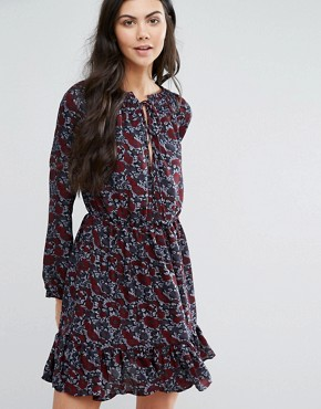 photo High Neck Printed Dress by First & I, color Black Flower - Image 1