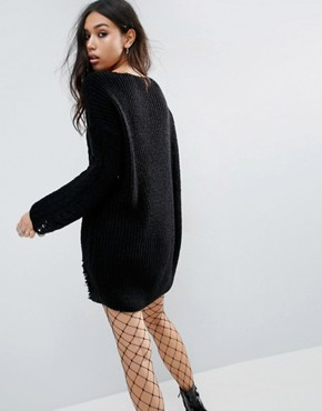 photo Jumper Dress In Cable And Ladder Stitch by ASOS, color Black - Image 2