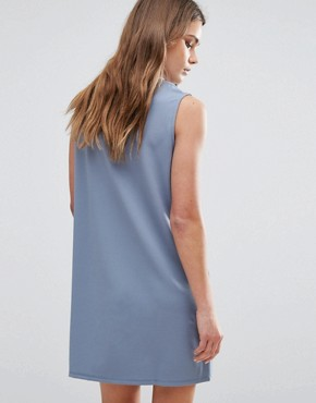 photo Zip Up Jersey Dress by First & I, color Blue - Image 2