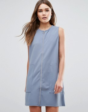 photo Zip Up Jersey Dress by First & I, color Blue - Image 1