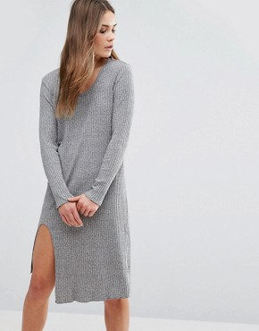 photo Knitted Midi Dress by First & I, color Grey - Image 1