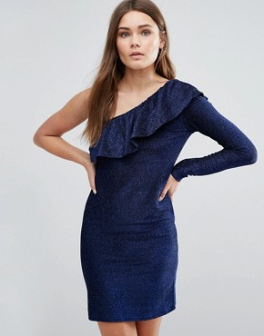 photo Ruffle One Sleeve Dress by First & I, color Deep Blue - Image 1