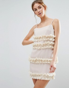 photo Frill Cami Dress by The English Factory, color Beige - Image 1