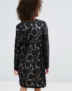photo Long Sleeve Contrast Lace Dress by b.Young, color Black - Image 2