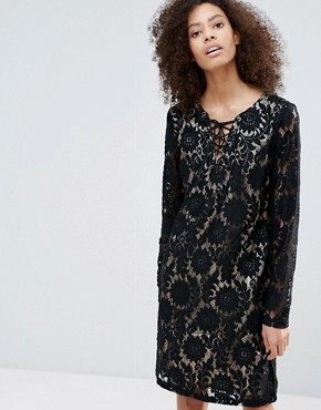photo Long Sleeve Contrast Lace Dress by b.Young, color Black - Image 1
