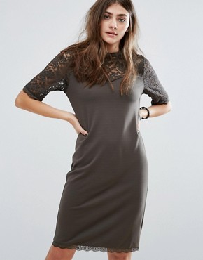 photo 3/4 Sleeve Lace Shift Dress by b.Young, color Mountain Green - Image 1
