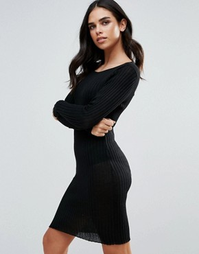 photo Rib Bodycon Dress by Brave Soul, color Black - Image 1
