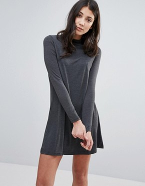 photo Jersey Swing Dress by Brave Soul, color Charcoal - Image 1