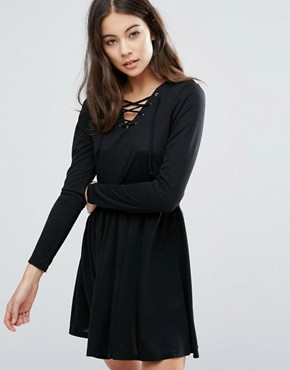 photo Tie Detail Skater Dress by Brave Soul, color Black - Image 1