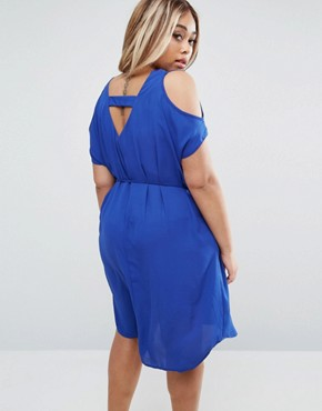 photo Dress with Cold Shoulder by Koko Plus, color Cobalt Blue - Image 2