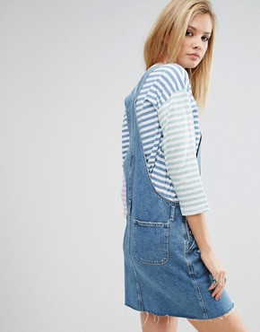 photo Denim Dungaree Dress in Mid Wash Blue by ASOS TALL, color Blue - Image 2