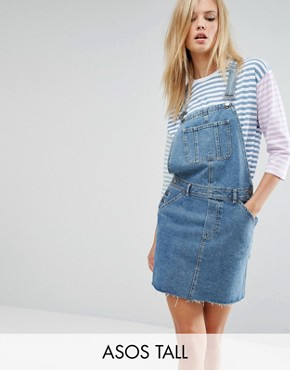 photo Denim Dungaree Dress in Mid Wash Blue by ASOS TALL, color Blue - Image 1